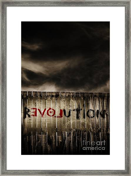 Revolution. The Writings On The Wall Framed Print