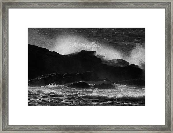 Rhode Island Rocks With Crashing Wave Framed Print