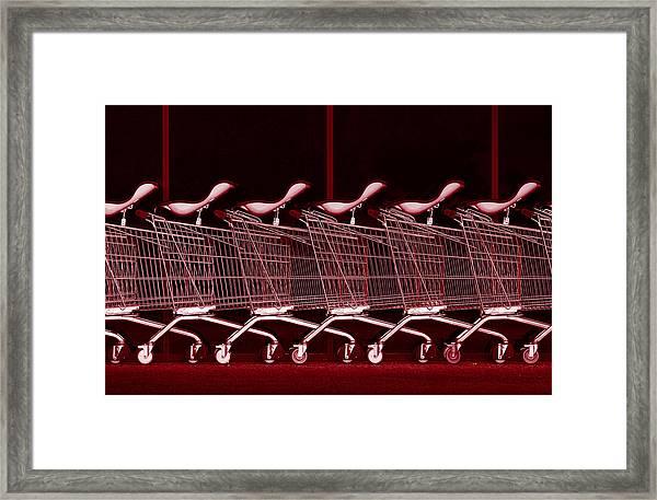 Rhythm In Red Framed Print by Jacqueline Hammer