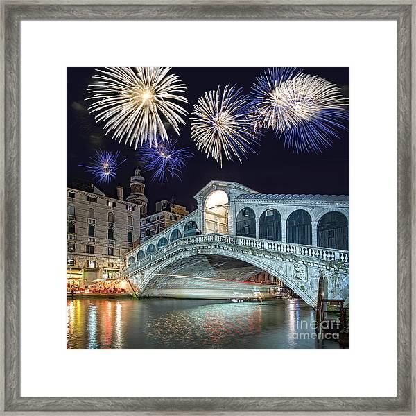 Rialto Bridge Fireworks Framed Print
