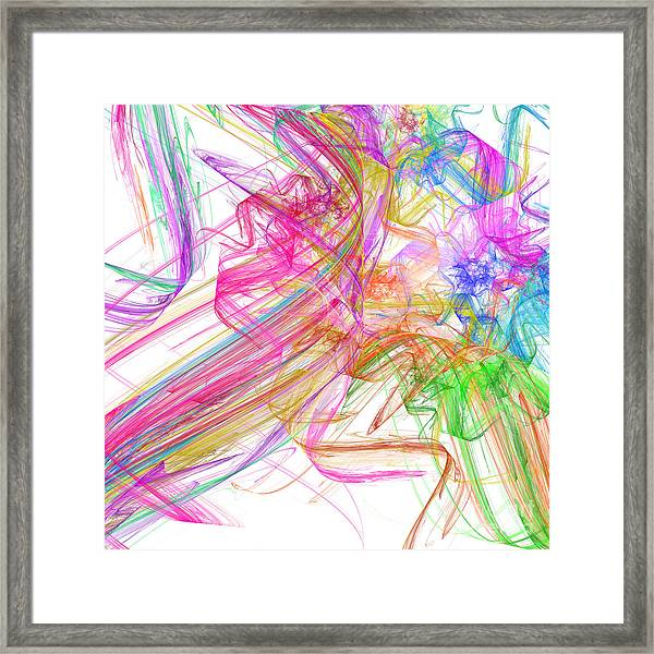 Ribbons And Curls White - Abstract - Fractal Framed Print