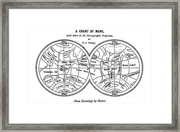 Richard Proctor Mars Map, 1867 Framed Print