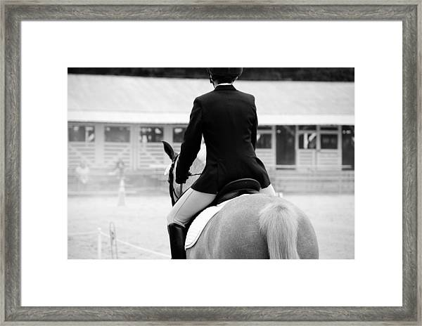 Rider In Black And White Framed Print