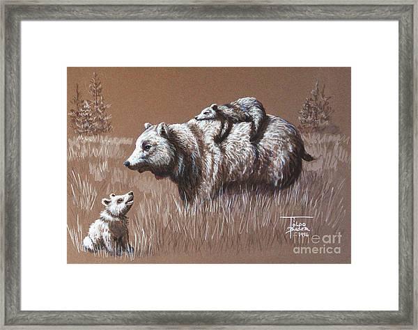 Riding Bear Back Framed Print