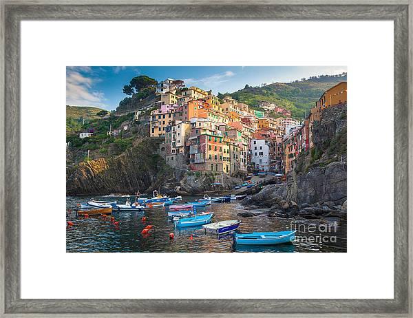 Riomaggiore Boats Framed Print