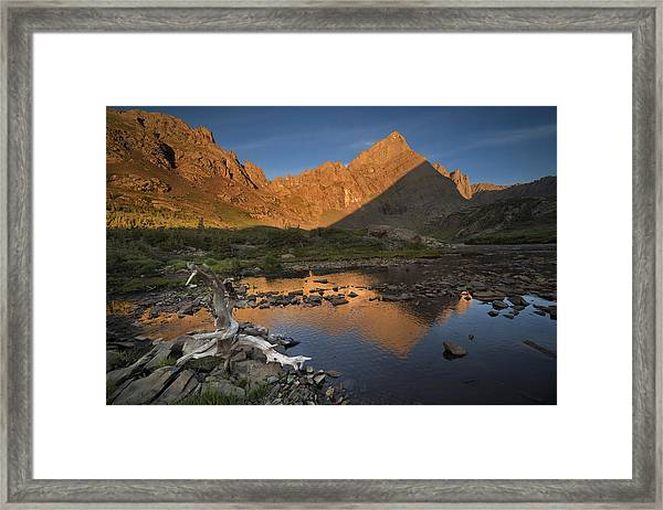 Rippled Reflections Of Crestone Needle Framed Print by Mike Berenson