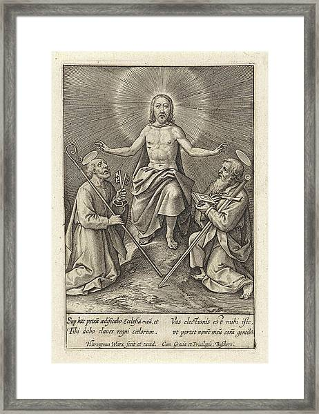 Risen Christ With Peter And Paul, Hieronymus Wierix Framed Print