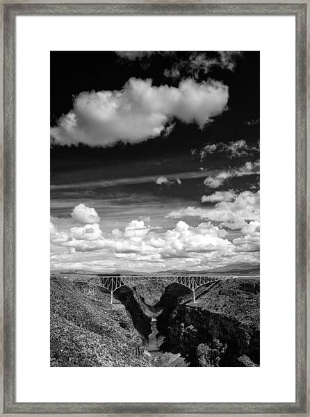 River And Clouds Rio Grande Gorge - Taos New Mexico Framed Print