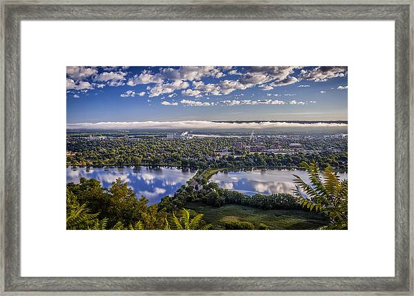 River Fog At Winona Framed Print