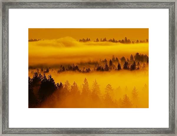 River Fog Rising Framed Print