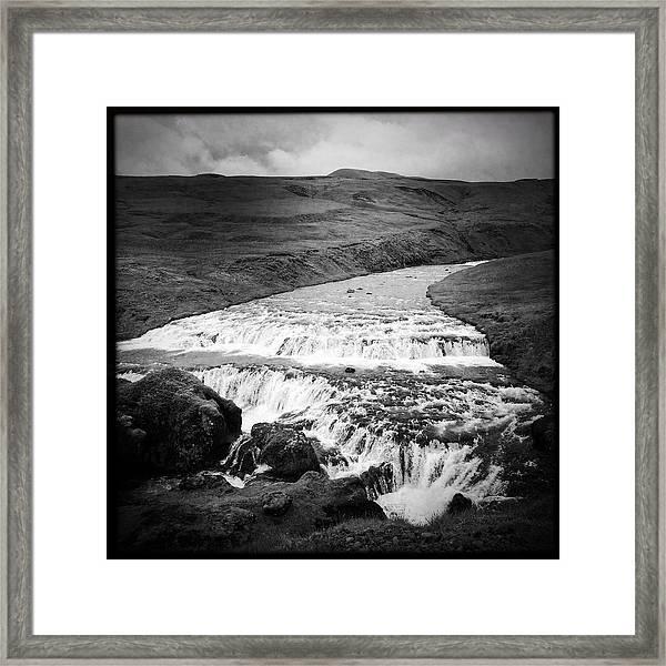 River In Iceland Black And White Framed Print