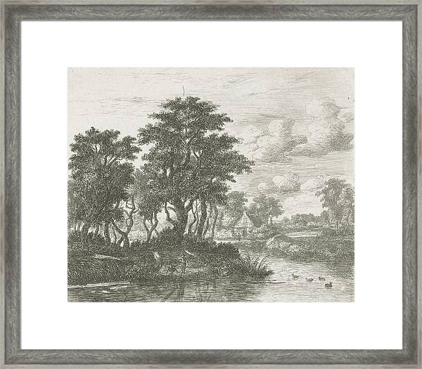 River Landscape With An Angler, Hermanus Jan Hendrik Van Framed Print by Hermanus Jan Hendrik Van Rijkelijkhuysen And Meindert Hobbema