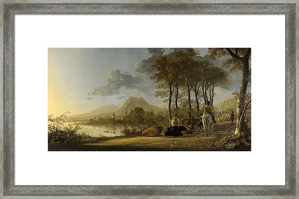 River Landscape With Horseman And Peasants Framed Print
