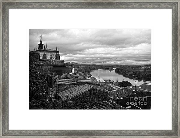 River Mino And Portugal From Tui Bw Framed Print