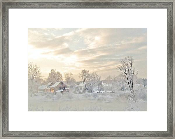 River Mist On A Very Cold New Hampshire Morning Framed Print