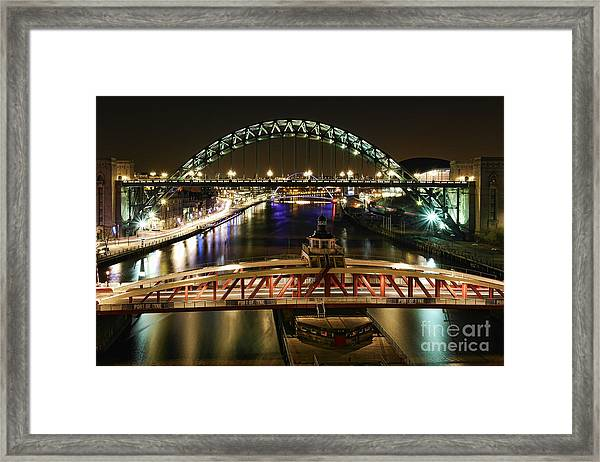 River Tyne At Night Framed Print