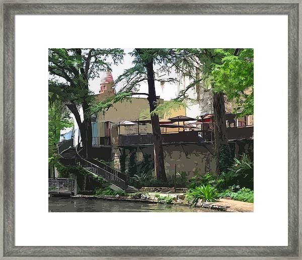 River Walk Cafe Framed Print