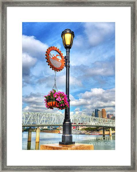 Framed Print featuring the photograph Riverboat Lamp by Mel Steinhauer