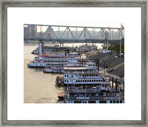 Framed Print featuring the photograph Riverboat Row by Mel Steinhauer