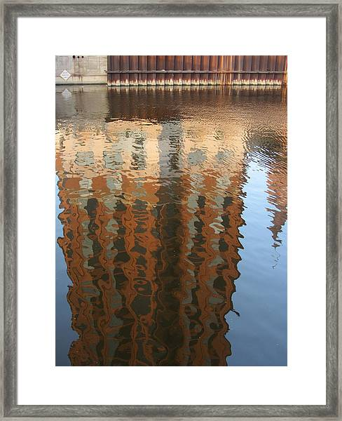 Riverwalk Reflection Framed Print