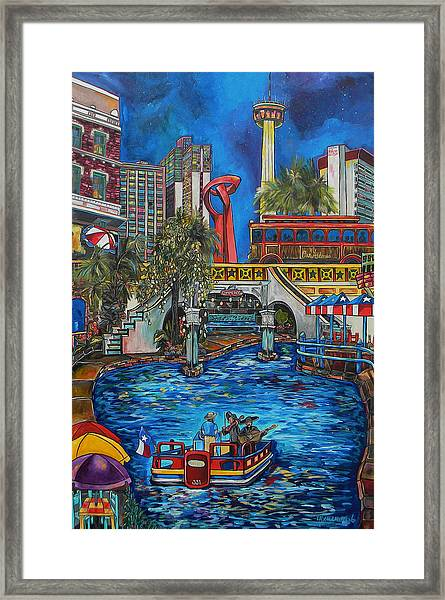 Riverwalk View Framed Print