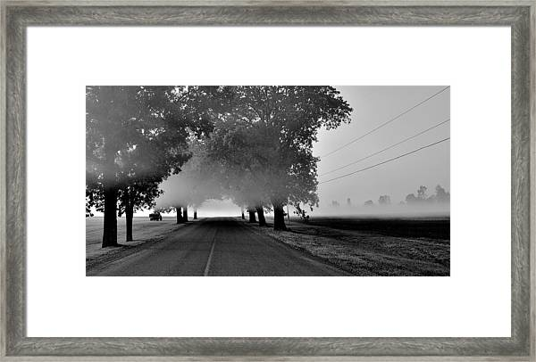 Road Into Morning Mist - Canada Framed Print
