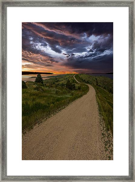 Road To Nowhere - Stormy Little Bend Framed Print