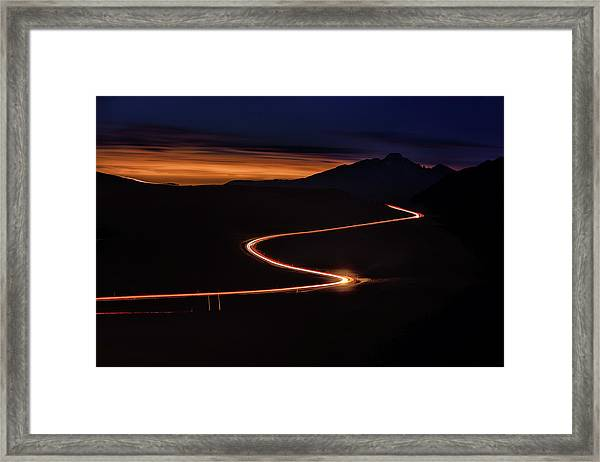 Road With Headlights And Taillights Framed Print