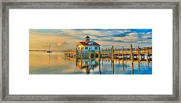 Roanoke Marsh Lighthouse Dawn Framed Print
