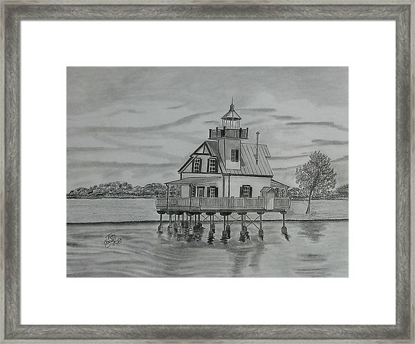 Roanoke River Lighthouse Framed Print by Tony Clark