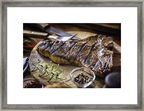 Roasted Bbq T-bone Steak Framed Print by GMVozd