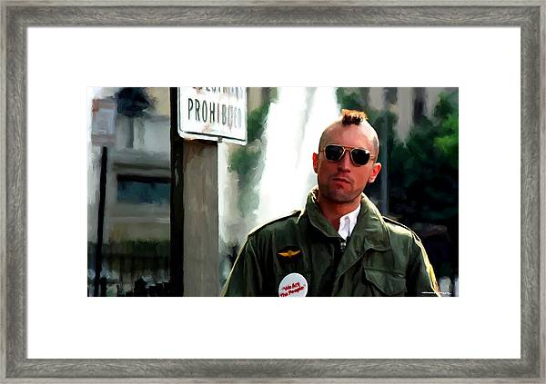 Robert De Niro In The Film Taxi Driver - Martin Scorsese 1976 Framed Print