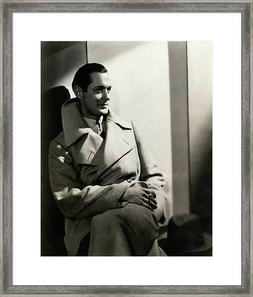 Robert Montgomery Wearing An Overcoat Framed Print