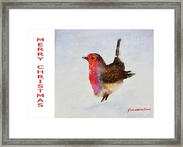 Framed Print featuring the painting Robin Christmas Card by Genevieve Brown