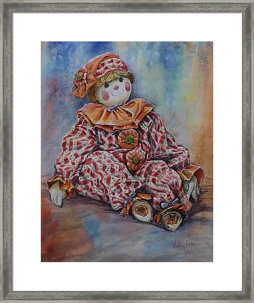 Robin Red Stripes Framed Print