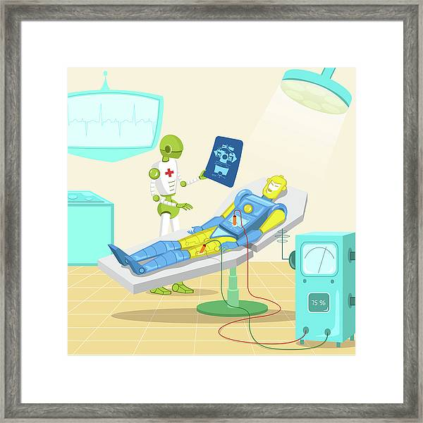 Robot Surgeon Examining Robot X-ray Framed Print by Fanatic Studio / Science Photo Library
