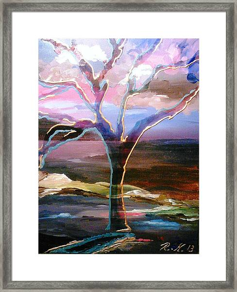 Framed Print featuring the painting Robust Tree by Ray Khalife