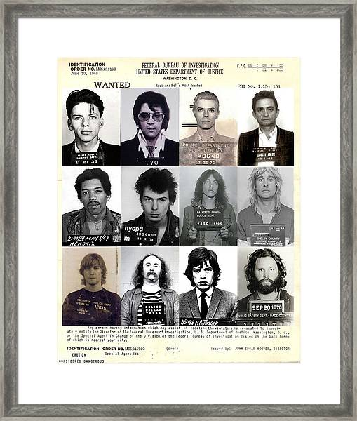 Rock And Roll's Most Wanted - Part II Framed Print