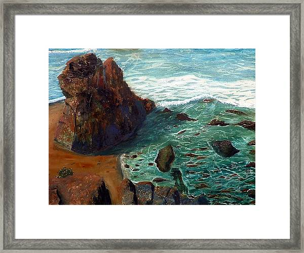 Rock Beach And Sea Framed Print