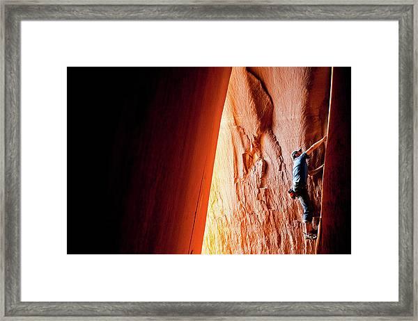 Rock Climbing In Utah At Indian Creek Framed Print