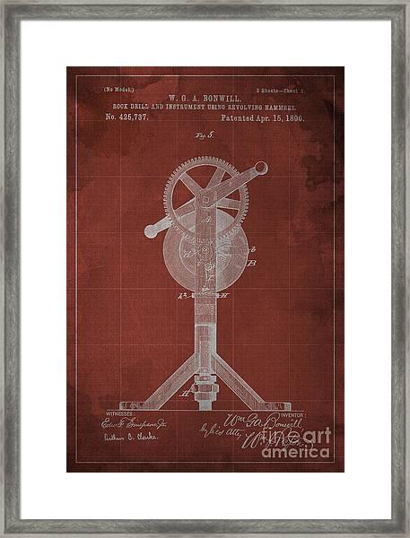 Rock Drill And Instrument Using Revolving Hammers Framed Print