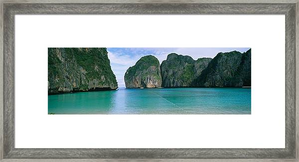 Rock Formations In The Ocean, Mahya Framed Print