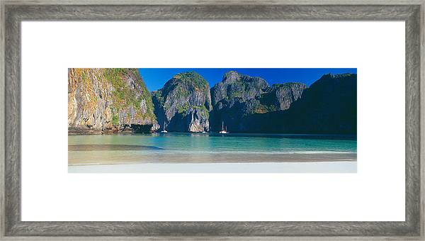 Rock Formations In The Sea, Phi Phi Framed Print