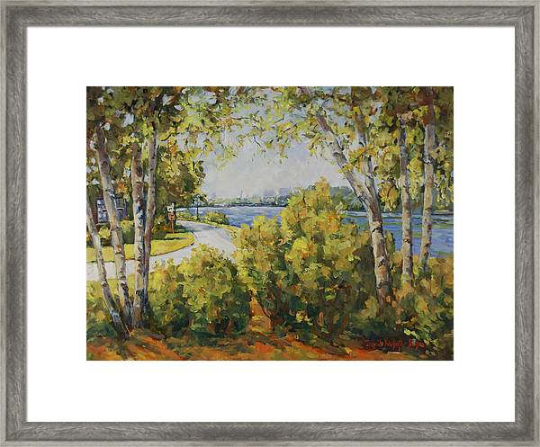 Rock River Bike Path Framed Print