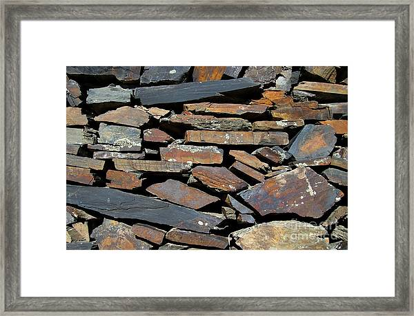 Rock Wall Of Slate Framed Print