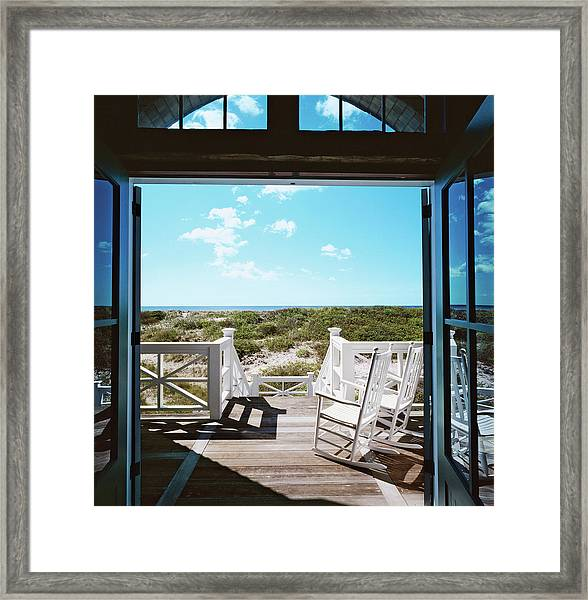 Rocking Chairs On Decking Framed Print
