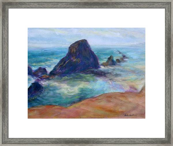 Rocks Heading North - Scenic Landscape Seascape Painting Framed Print
