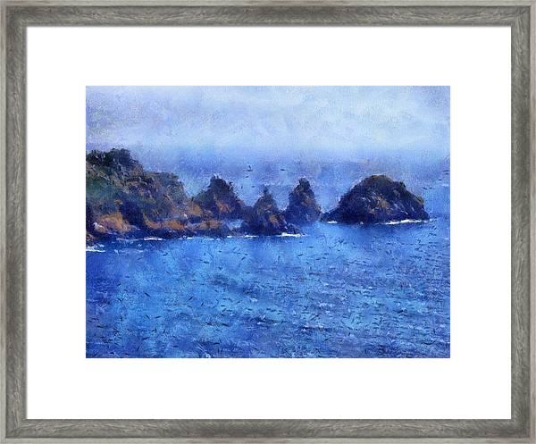 Rocks On Isle Of Guernsey Framed Print