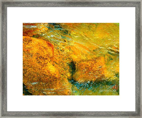 Rocks Under The Stream By Christopher Shellhammer Framed Print