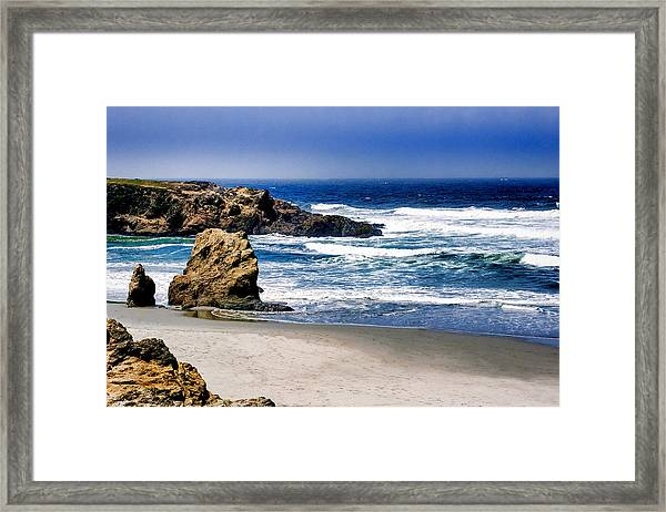 Framed Print featuring the photograph Rocky Beach Blue Mendocino by William Havle